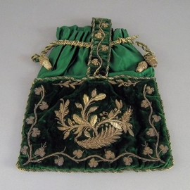early 19th Century - Green Felt Bag wit Shamrock Motif, Lovely
