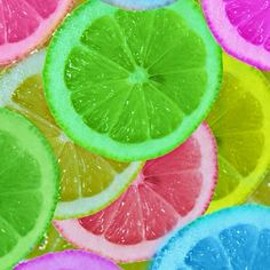 Let oranges or lemons soak in food coloring