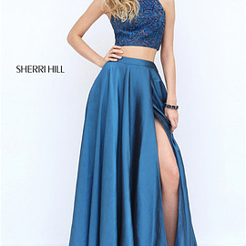 dresses 2017 - Two Piece Long Sherri Hill 50627 Halter Style Navy Beaded Slit Evening Dress 2017