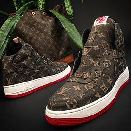 NIKE, Super Kreep - Air Force 1 Hi - Brown/Gold/University Red (LV Custom)