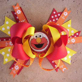 Luulla - Elmo Inspired Hair Bow - Sesame Street Inspired Hair Bow