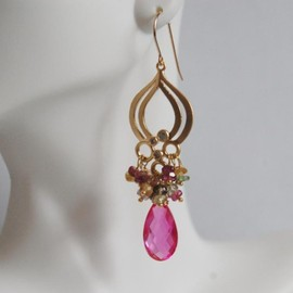 Luulla - Hot pink Quartz And Multi Tourmaline Chandelier Earrings