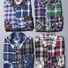 vendor Things - CRAZY PATTERN NEL CHECK WORK SHIRTS