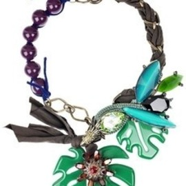 Lanvin - Lanvin necklace - Multicolored glass and crystal bird of paradise necklace