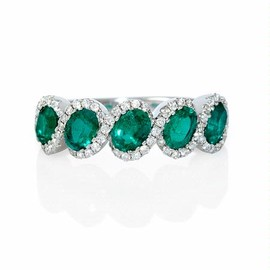 Firenze Jewels - Diamond and Emerald 18k White Gold Ring - ダイヤモンドエメラルドリング