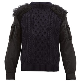 PRADA - Faux fur-trim nylon-sleeve wool sweater