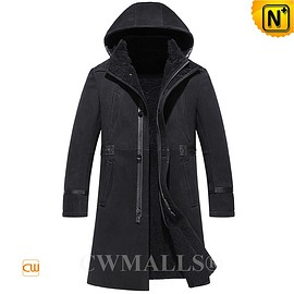 CWMALLS - CWMALLS® Mens Shearling Trench Coat with Hood CW838032