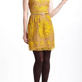 Anthropologie yellow lace dress