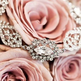 A vintage look with a rhinestone and crystal necklace.