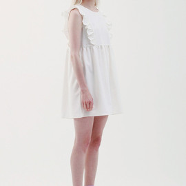 THE WHITEPEPPER - Sleeveless Bib Frill Smock Dress Ivory