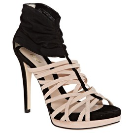 FENDI - Black and powder banded platform sandals