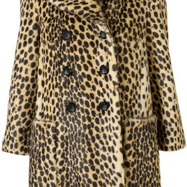 TOPSHOP - Animal Leopard Print Vintage Faux Fur Coat