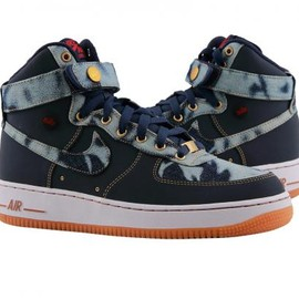 Nike - NIKE AIR FORCE 1 HIGH '07 DENIM MID NAVY/MID NAVY-GUM MID BROWN-UNIVERSITY RED
