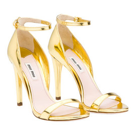miu miu - metallic kid leather platform sandal