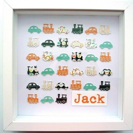 Luulla - baby gift. custom personalised art. boy's traffic: cars and trains. framed 10 x 10