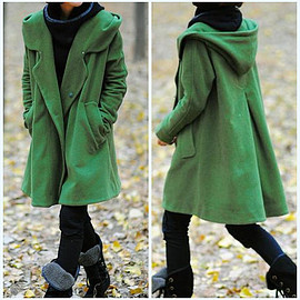 winter Coat - Grass green Wool Coat, Wool Coat with hooded, Wool cape winter Coat