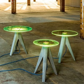 Michael Neubauer - Holy Tristan - Lighted Glass and Concrete Tables