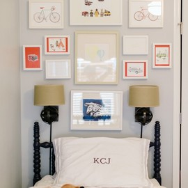 red frame grey wall