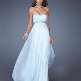 A-line Strapless Sweetheart Beaded Empire Chiffon Prom Dress PD2682