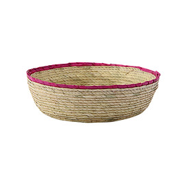 THE CONRAN SHOP - DOUBLE ROUND BASKET NATURAL / PINK RIM S