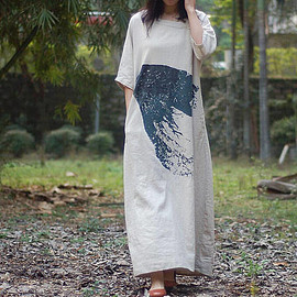 loose dress - Linen Color large size long dress Loose women gown loose dress