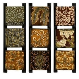 IMAX - IMAX Textures Enamel Painted Triptychs Artwork, Set of 3