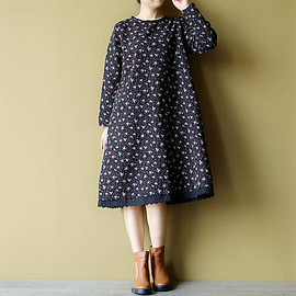 loose fitting dress - Loose cotton and linen round collar long sleeves dress Women Long bottoming dress