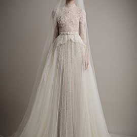 Ersa atelier - wedding dress high neck tulle overskirt