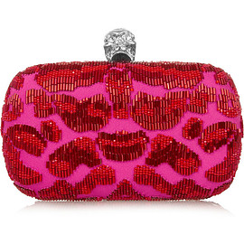 Alexander McQueen - Classic Skull embellished satin box clutch