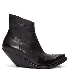 Vetements - Slanted-heel Western leather ankle boots