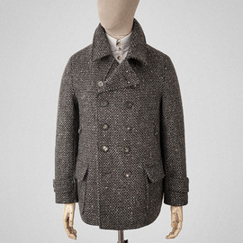 s.e.h kelly - Tobacco and charcoal-grey wool peacoat