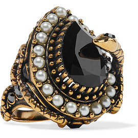 Alexander McQueen - Gold-plated, faux pearl and Swarovski crystal ring