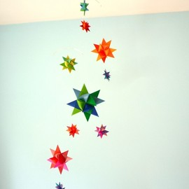 Modern Baby Crib Mobile Origami Paper Stars -'Musca' Rainbow