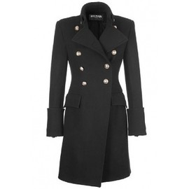 BALMAIN - Manteau classique BALMAIN Black Golden-Buttons Coat