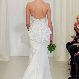 angel sanchez bridal 2014 strapless wedding dress floral peplum