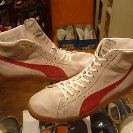 """PUMA - 「<used>70's PUMA INDOOR TENNIS SHOES natural/red""""made in WEST GERMANY"""" size:UK9(27.5-28cm) 18800yen」完売"""