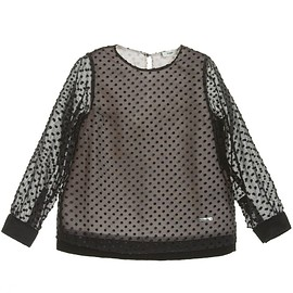 FENDI - Girls Black Spotty Chiffon Blouse