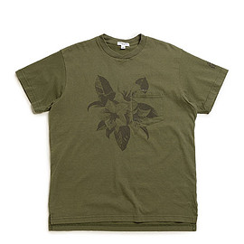 ENGINEERED GARMENTS - Printed Cross Crew Neck T Shirt-Floral-Olive