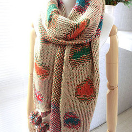 Colorful Pompom Double Side Patches Long Neck Scarf Knitted Wrap