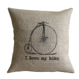 Luulla - I Love my Bike Vintage Bicycle Burlap Pillow Cover