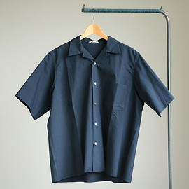 AURALEE - SELVEDGE WEATHER CLOTH OPEN COLLARED HALF SLEEVED SHIRT #navy