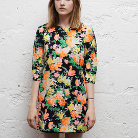 THE WHITEPEPPER - Vintage Neon Floral Shift Dress