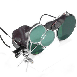 edmdesigns - Steampunk Goggles Vintage American Optical Steampunk Glasses GREEN Tint BROWN Leather Side Shields Magnifier Loupes STUNNING