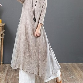 gray dress, linen long dress - gray dress, linen long dress, maxi dress women, Wrinkled linen dress, Seven-quarter sleeve dress
