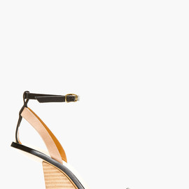 Chloé - Black Leather Cut-Out Wedge Sandals
