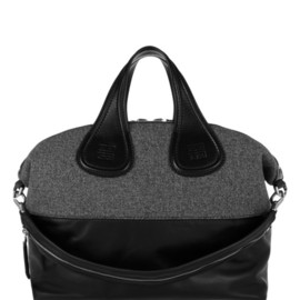 GIVENCHY - Large Nightingale bag in wool-tweed and black leather