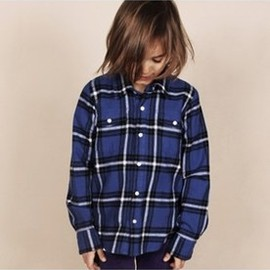 MINI RODINI - MINI RODINI ♥ FLANNEL SHIRT, BLUE