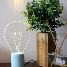 SturlesiDesign - Blue concrete exposed bulb Lamp