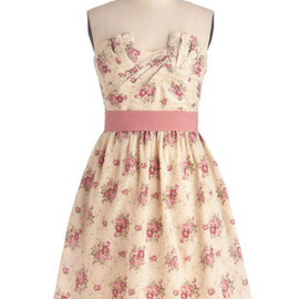 Cottage Tea Party Dress - Wedding, Party, Vintage Inspired, Multi, Pink, Tan / Cream, Floral, A-line, Strapless, Mid-length