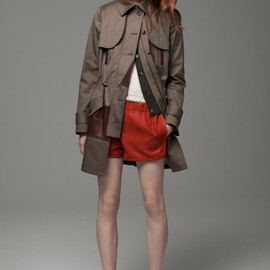 THAKOON ADDITION - Leather-trimmed cotton-blend canvas trench coat